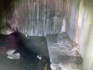 Utbränd lägenhet.