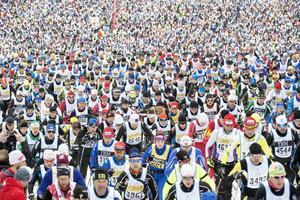 Starten av Vasaloppet 2016 i Berga by.