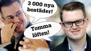 Björn Sundin (S) vallöfte till örebroarna är 3 000 nya bostäder. Anders Åhrlin (M) tror inte på det.