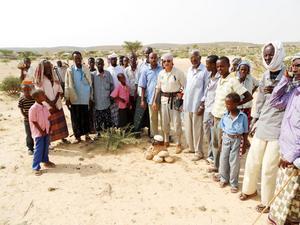 Ute på Somaliska slätten lever både nomader och bybefolkning. Med stenar har gruppen märkt ut vart det finns vatten men man behöver utrustning för att fortsätta projektet.