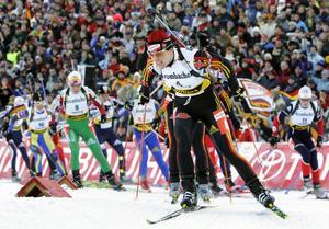 Uschi Disl i en av hennes sista tävlingar. Bilden är från världscupen i Oberhof. OS i Turin samma år var hennes sista mästerskap.