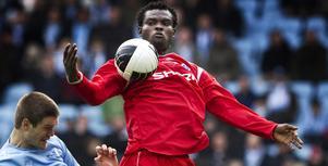 Etuwe Prince Eboagwu är klar för spel i Brage. Här syns han i en match med Åtvidaberg mot Malmö.