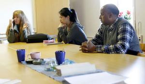 Gruppen träffas varje dag i bygderådets lokaler i Järvsö, från vänster strategiske ledaren Kee Bergman, Jing Yi Huang och Abdallah Hamed Ibrahim.