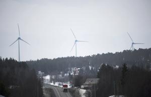 Vindenergi. Skadligt för omgivande kulturmiljöer? Bilden visar en vindkraftspark utanför Umeå.  Foto: Fredrik Sandberg/TT