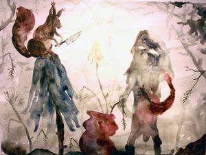 Mest kolteckningar, men även som här en akvarell med knivbeväpnad ekorre och andra invånare i Daniel Jenssens skog.