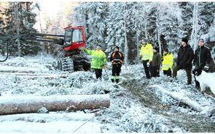 """Ett av två första maskinlagen som nu diplomeras, klara med Stora Enso Skogs utbildninginsats för mindre körskador och ändå mer grot ur skogen, är Mats Danielssons MD-Skog AB. Här står man vid den väl risade """"E4"""" basvägen på hygge norr om Storslätten och Bosse Norman pekar över systemet med """"spökstråk"""".  FOTO BOO ERICSSON"""