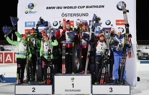 Pristagarna i mixstafetten guld till Norge, silver till Tyskland och brons till Italien.