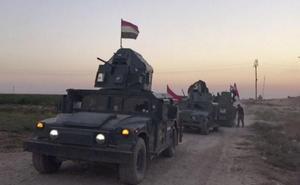 De irakiska styrkorna när de var på väg mot Kirkuk i norra Irak.