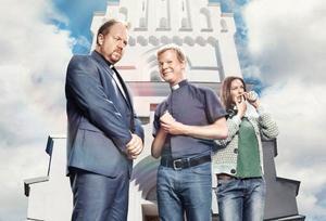 Anders Jansson, Johan Glans och Jenny Skavlan i TV 4:s nya komediserie