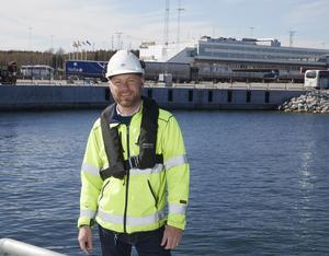 Christian Östman, stuverichef vid Kapellskärs hamn, känner en lättnad över att bygge är klart att invigas offentligt.