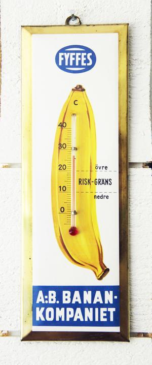 Termometern från Fyffes banankompani är en riktig raritet och ett populärt samlarobjekt.