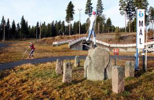 På Åsarna skidstadion lyser snön med sin frånvaro. Vill man åka skidor är det fortfarande rullskidor som gäller.