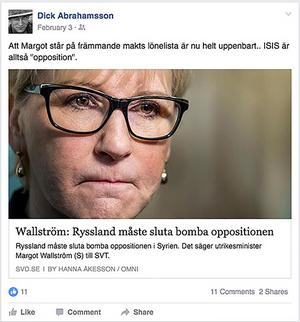 Här trollar Dick bort att Islamiska Staten inte räknas till oppositionen.