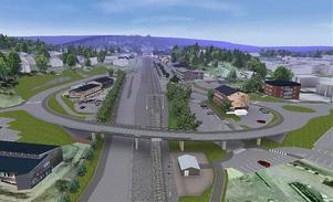 Viaduktbron över Riks 90 och järnvägspåret innebär att dagens järnvägsövergång kan plockas bort.