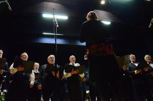 Aikapojat på scenen. Kören fångar den finska själen i sina tolkningar av musiken från Finland. Firandet av Sverigefinska dagen pågår i biosalongen i Folkets hus.