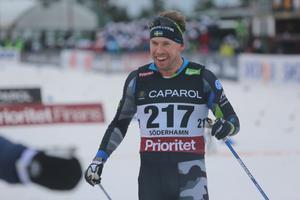 Emil Jönsson efter målgång som guldmedaljör.