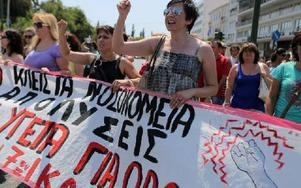 Protesterna i Grekland fortsätter. Foto: Petros Giannakouris