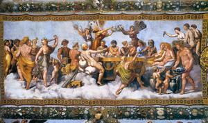 När Psyche gifter sig med Amor träder hon in i det gudomliga. Freksmålning av Raphael från 1517.