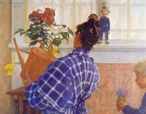 """Karin vattnar en kamelia"" av Carl Larsson."