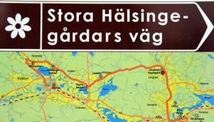Stora Hälsingegårdars väg går från öster genom Alfta, Gundbo, Näsbyn, Långhed, Vängsbo, Knåda, Roteberg, Ullungsfors och till Edsbyn i väster.Det