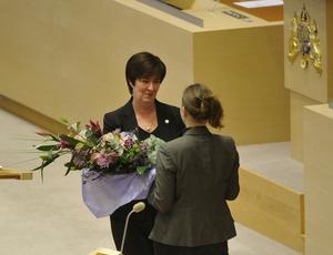 Sista debatten med gänget. Mona Sahlin (S) och Maria Wetterstrand (MP) deltog för sista gången i riksdagens partiledardebatt.foto: scanpix
