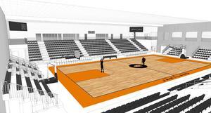 Så här kommer interiören att se ut i nya A-hallen. De två läktarna på respektive kortsida är mobila. Den bortre läktaren är den helt nybyggda, som också är mobil. Det innebär att man under träning kan köra över två planer vilket har varit ett stort önskemål för Jämtlands Basketgymnasium.