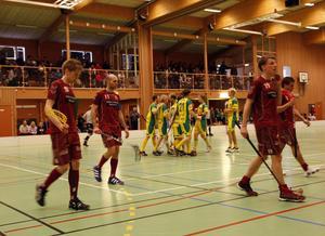 Jubel hos IK Ljusdal. Laget svarade för en närmast otrolig vändning, och vann mot Hedemora med 7–6 i kvalreturen.