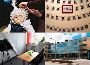 EEG, elektroencefalografi, är en undersökning för att mäta den elektriska aktiviteten i hjärnan. På babylabbet har man utvecklat små hjälmar som passar spädbarn (uppe till vänster). Ett 30-tal forskare är knutna till Barn- och babylabbet vid institutionen för psykologi i Uppsala (uppe till höger). I ett avskalat rum med en tv får barnet se hur en vuxen och hur ett barn använder lådan med bollar. Sedan kartläggs hur barnet som deltar i studien använder lådan med bollar. Gör barnet som den vuxna eller som det andra barnet? (nere till vänster). Mitt emot slottet i Uppsala, där ligger babylabbet (nere till höger).