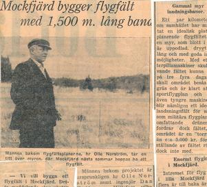 Tidningsklipp. Den 1 oktober 1948 skrev Borlänge Tidning om Norströms-Olles flygfältsplaner.
