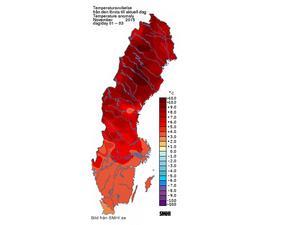 Enligt SMHI's data om normaltemperaturer för årstiden är det betydligt varmare än normalt.