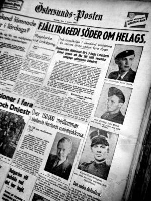 Tragedin på fjället i början på mars 1944 då tre värnpliktiga frös ihjäl.