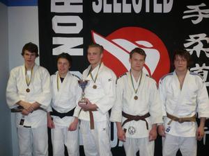 Christian Åhlund, till vänster, Fredrik Sköld och Kristian Larsson, Söderhamn, Filip Nilsson, Ljusdal, samt Mattias Mårtensson, Östersund, ingick i Norrlandslaget.