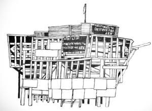 Arken i Newark tecknad på väggen av Hanna Gustavsson.