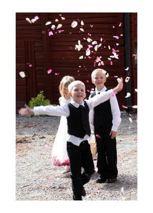 Olle, Gustav och kusin Saga kastar rosenblad. En härlig ögonblicksbild från moster Idas bröllop.