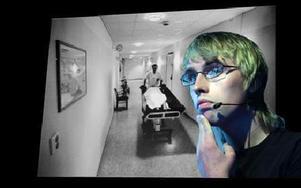 Andreas visar bilden på när han skulle få bada i sjukhusets bassäng för första gången efter olyckan. Foto: Staffan Björklund