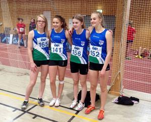 J/H-tjejerna som sprang den avslutande stafetten: Sandra Berglund, Marielle Bodin, Anna Backman och Elsa Hedström.