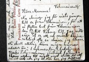 Vykortet postat i Vehmainen den 18 april 1918.