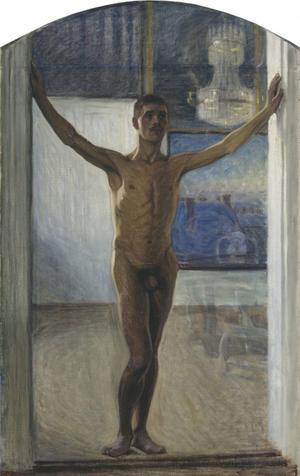 """""""Naken Yngling"""" från 1907. Eugène Janssons porträtt av Knut Nyman, i bakgrunden syns ett av de blå landskapen. """"Midsommarnatt"""" från 1898. Eugène Jansson målade sina landskapsmotiv ur minnet. """"Atleter"""" från 1912 av Eugène Jansson.  Eugène Janssons självporträtt från 1910 med Flottans badhus på Skeppsholmen i bakgrunden. Konstnären var känd för sin eleganta klädstil. """"Gryning över Riddarfjärden"""" från 1899."""