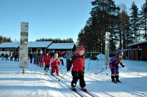 Tillsammans. Alla barnen startade i samlad trupp. I det högra ledet står barnen på Åmots skola och i det vänstra har Jädraåseleverna radat upp sig. Längst fram i vänstra spåret kör Maja Hammargren.