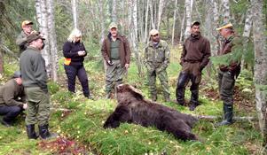 Ett nöjt jaktlag efter att hannen på 210 kilo lagts ner.