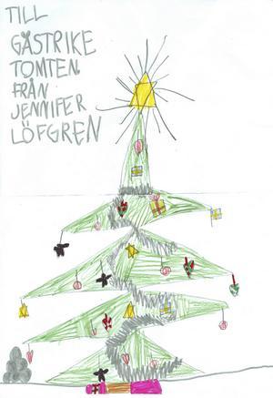 Jennifer 7år från Ockelbo, har skickat en fin glittrig gran till Gästrike Tomten. God Jul!