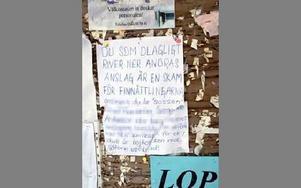 En kvinna som är emot ett turistprojekt i Fredriksberg driver sin sak med långa skrivelser. Som sitter på anslagstavlorna. Nu har bl a politikern Sören Finnström anklagats för att riva ner anslagen. FOTO BOO ERICSSON