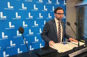 Liberalernas Fredrik Malm presenterade ett nytt integrationspolitiskt program. Foto: Peter Wallberg/TT
