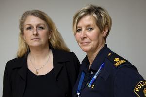Närpolisens ungdomsutredare Mia Logård och Carola Wiklund har uppmanat all skolpersonal i kommunen att vara uppmärksamma kring problemet med sniffning och glejdning.Foto: Stig-Göran Nilsson