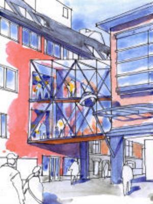 Gångbro i dubbla plan över Thulegatan. Flödena ska förbättras mellan de olika galleriadelarna, vilket kräver vissa ändringar i stadsplanen.