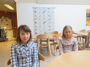 Edla Nilsson och Rut Melkersson är matrådsmedlemmar ur årskurs fyra. Det är kanske lite nytt med vegetarisk mat, men inte heller helt dumt.