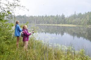 Fiske vid Hanesjön. Elin Schagerström och Erica Alkman fiskar i Hanesjön, och vips, får Elin napp.