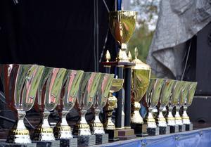Pokalerna stod uppradade i väntan på prisutdelning.