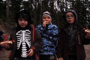 Jack Åhlund Fredriksson, Alexander Åhlund Eliasson och Aaron Åhlund Fredriksson gav vandringen tummen upp.