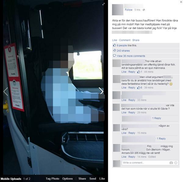 Kvinnan hängde ut busschauffören som rånare.